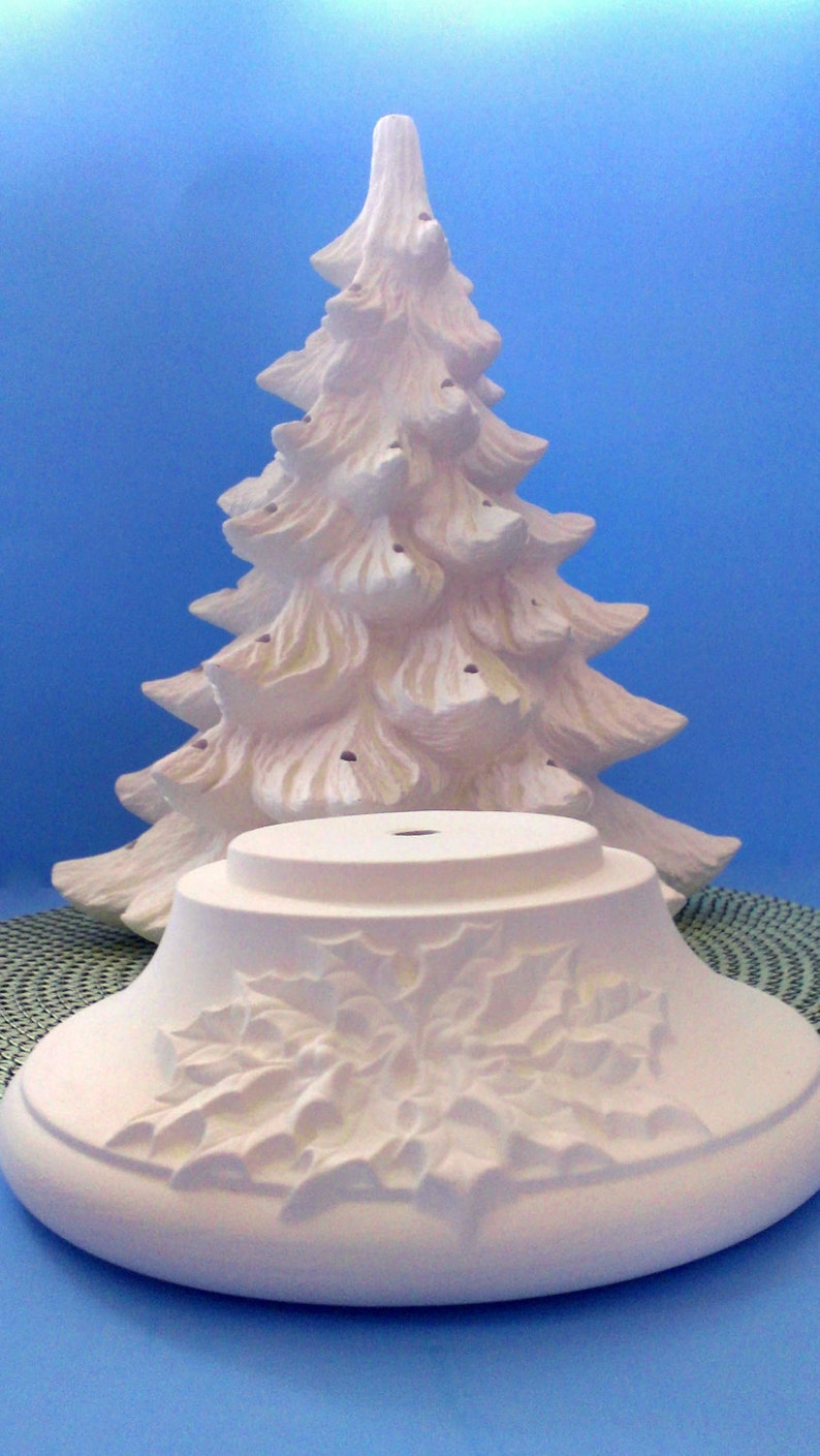 Large Ceramic Christmas Tree unpainted bisque with holly | Etsy