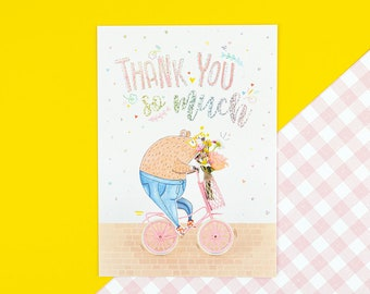 Thank You Beary Much postcard with glitter foil details