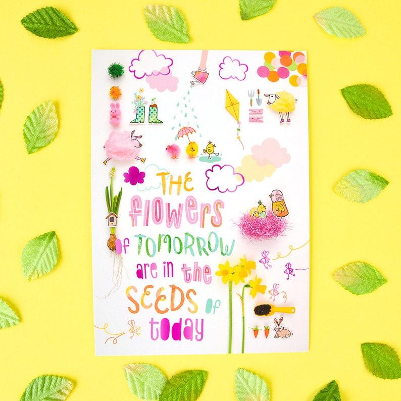 Seasonal mini print: Spring hot pink foil finish image 0