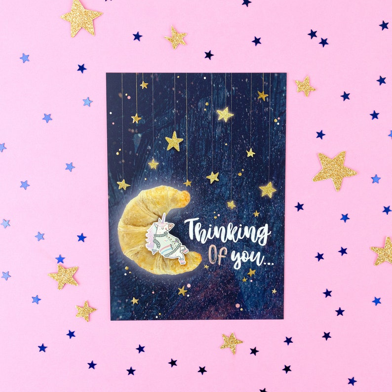 Thinking Of You postcard with gold foil details image 0