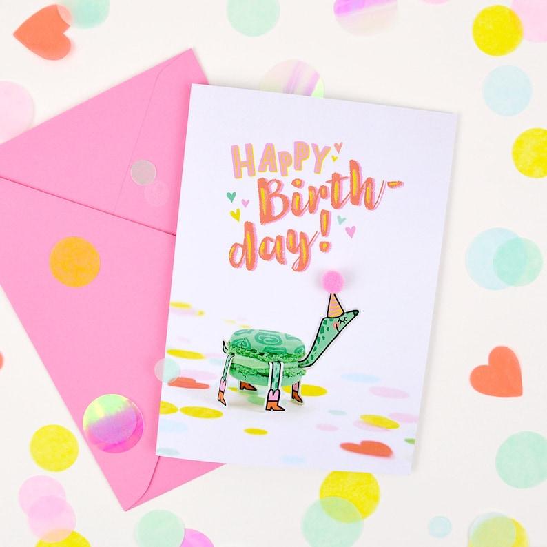 Happy Birthday Pompon Postcard image 0