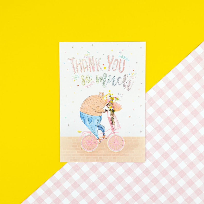 Thank You Beary Much postcard with glitter foil details image 0