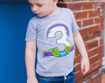 Custom SPACE RANGER Birthday Shirt TEE with Name on Back Buzz Lightyear birthday shirt Toy Story Birthday Shirt