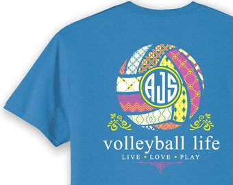 OFFICIAL TM Volleyball Life™ BLUE Custom Monogram Long Sleeve T-Shirt Volleyball Shirt Volleyball T vssYN