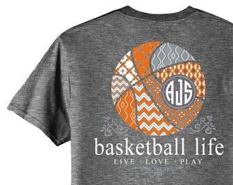 OFFICIAL TM Basketball Life™ Custom Monogram T-Shirt Basketball Shirt Basketball T Shirt Basketball Tee