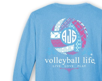 OFFICIAL TM Volleyball Life™ BLUE Custom Monogram Long Sleeve T-Shirt Volleyball Shirt Volleyball T