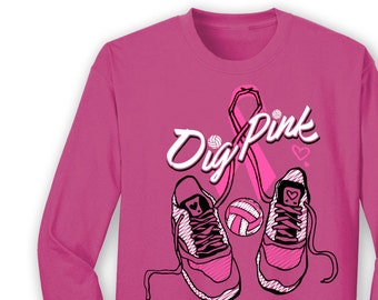 BCA DIG PINK Breast Cancer Awareness Volleyball Shoes Ribbon Pink T Shirt Long Sleeve