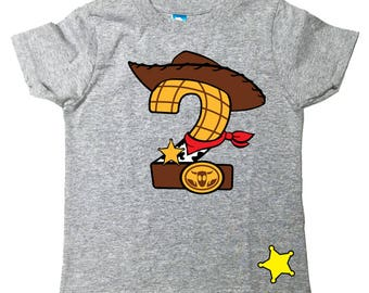 Custom COWBOY Birthday Shirt TEE With Name On Back Woody Toy Story