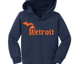 Detroit D Michigan Custom Hoodie with Name on Back Detroit Tigers