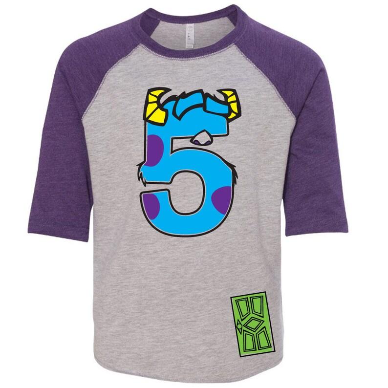 725bb88556ba Custom MONSTER birthday shirt PURPLE RAGLAN Sully Birthday Shirt with Name  on Back