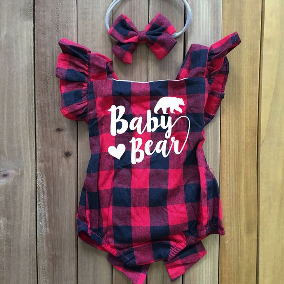 4c823398d2 Baby Bär Strampler Set mit Stirnband Buffalo Check Baby Outfit | Etsy