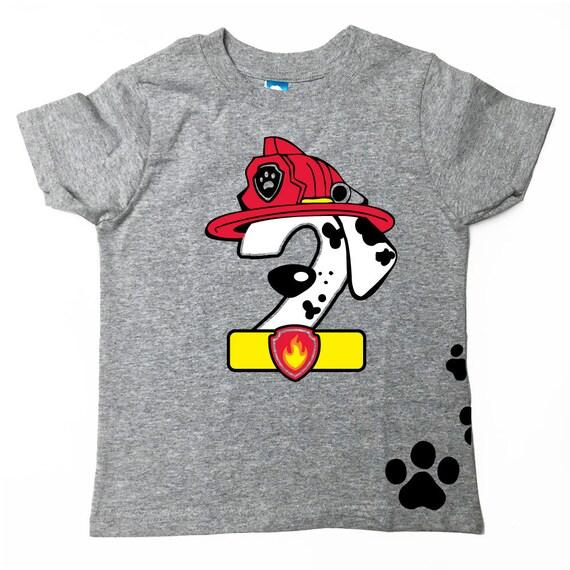 Patrouille de patte inspiré d'anniversaire chemise pompier Tee gris © chien avec nom Marshall anniversaire chemise patte patrouille chemise patte patrouille anniversaire chemise