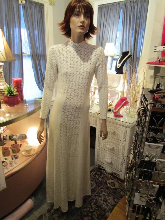 Long White Cotton Knit Dress