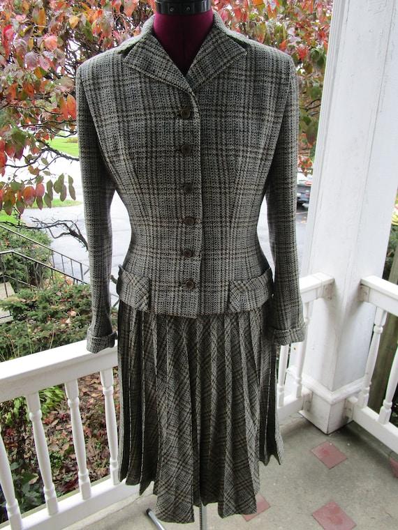 Vintage 1940/50s Ladies Wool Plaid Skirt Suit