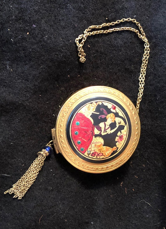 Jolie Amour French Powder Dance Purse Compact Metal With Enamel And Jeweled Spanish Dancer 1920s