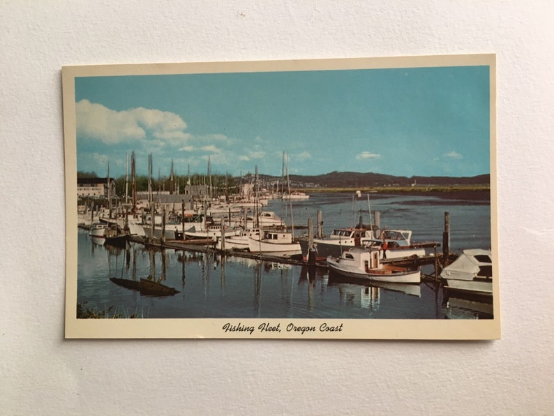 vintage postcard fishing fleet oregon coast