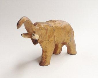 vintage gold painted metal cast elephant statue