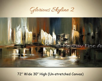 Large abstract Cityscape painting, Original acrylic art on canvas, Skyline city view, Size: 72'' x 30'' by MadhavFineArt