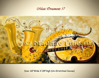 Abstract Guitar Modern Painting Music Contemporary Original Art on Large canvas by Madhav - Size: 60'' x 28'' (152cm x 71cm)