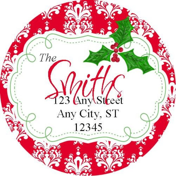 round christmas stickers address labels damask round labels etsy