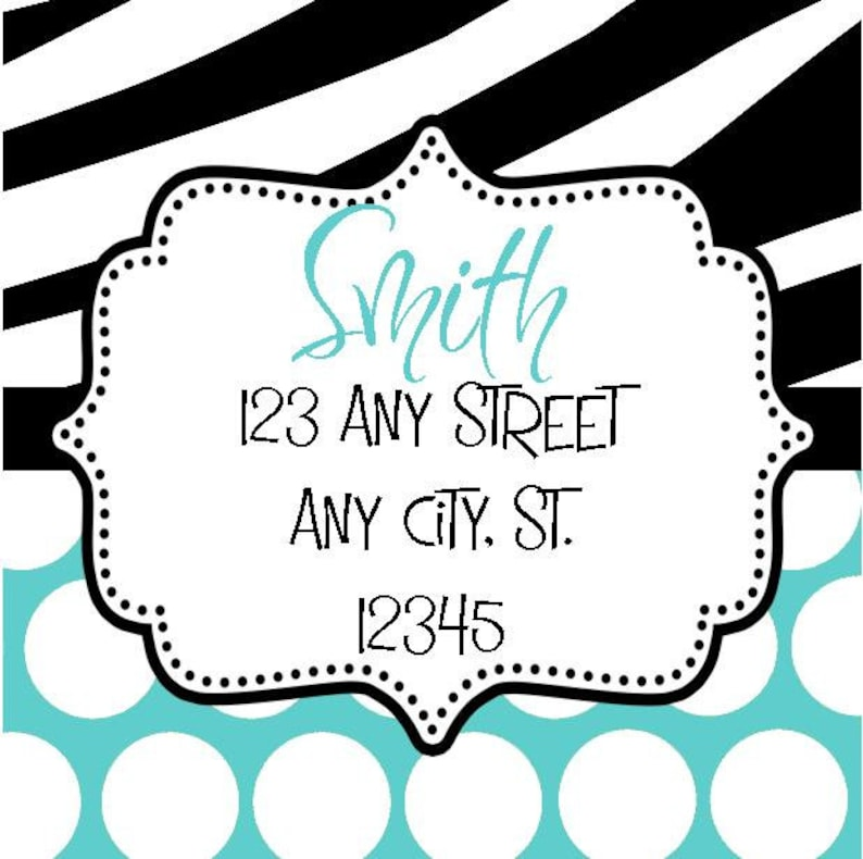 Zebra Turquoise Aqua Polka Dots Labels Square Stickers for Party Favors Gift Tags Address Labels