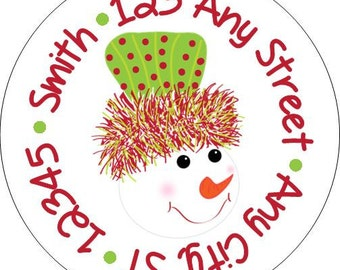 Red Lime Snowman Christmas Tree Round Address Labels Stickers for use as Gift Tags, Party Favors, Address Labels & Class Parties