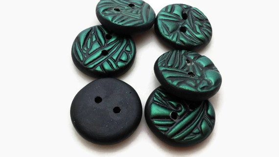 metallic button knitting decoration polymer clay button quilter buttons Teal Green Buttons abstract design button 22 mm round button