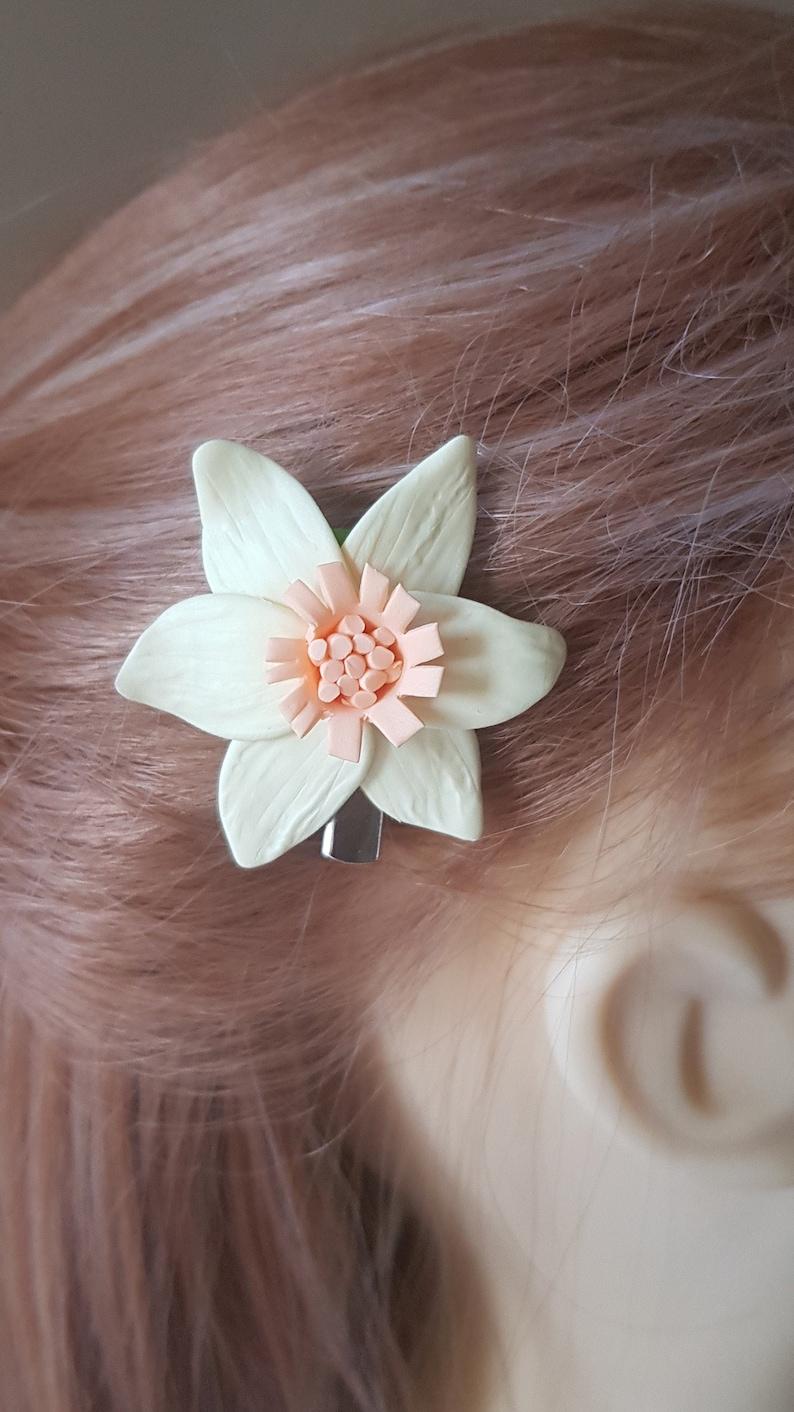 Yellow daffodil hair clip and brooch handmade in uk