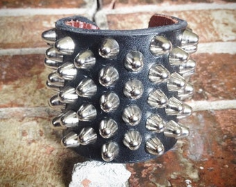 5-4-5 UK82 Masterstrap Short British Studs Punk Bracelet w/ Leather Backing Wrist Protection