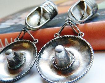 Huge Vintage Sterling Silver Sombrero Earrings / Peru