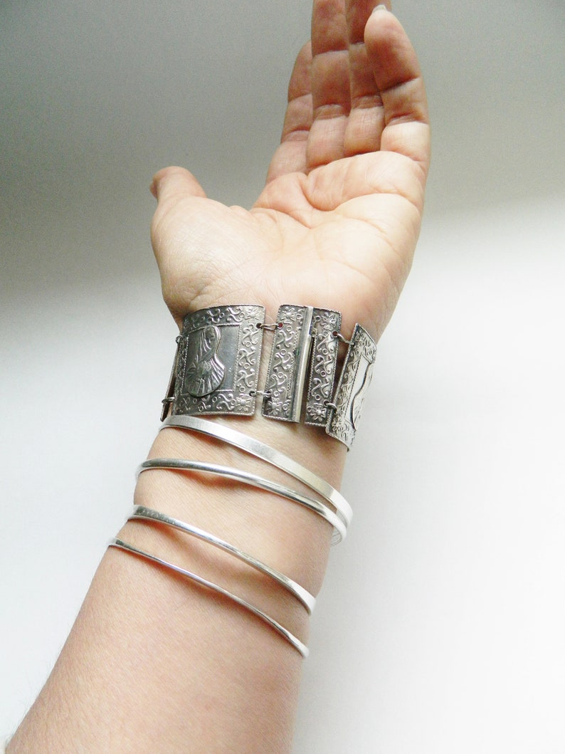 Vintage Sterling Silver Wide Bracelet Set  La Tapada Lima Peru