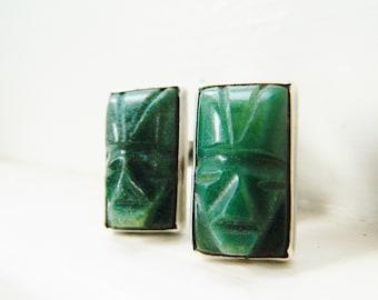 Tribal Face Earrings / Vintage Mexico