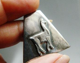 Silver Llama Pin / Vintage Machu Picchu Peru