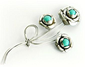 Sterling Silver Flower Brooch / Vintage Robins Egg Blue