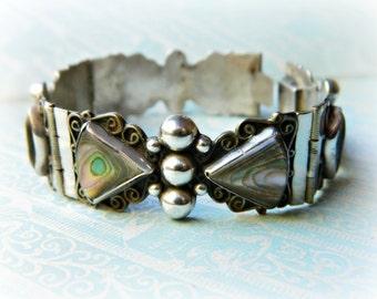 Sterling Silver Abalone Bracelet / Vintage Mexico