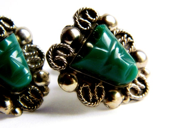 Sterling Silver Vintage Earrings Green Mexico Etsy