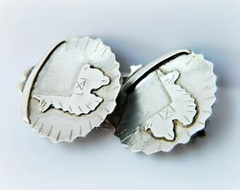 Sterling Silver Llama Earrings / Vintage Peru