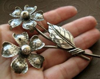 Large Flower Brooch - Vintage Pewter Bouquet