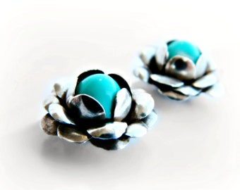 Sterling Silver Flower Earrings / Vintage Mexico