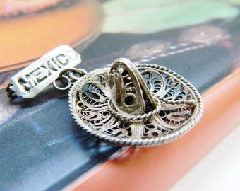 Filigree Mexican Hat Pin / Vintage Travel Brooch