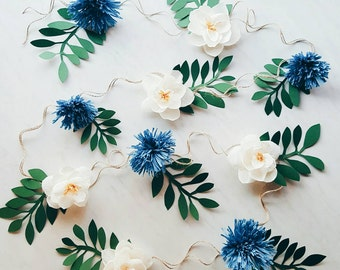 Paper flower garland. Teepee flowers. Crepe paper magnolias and chrysanthemums. Nursery room decor. Boho wedding flower backdrop.
