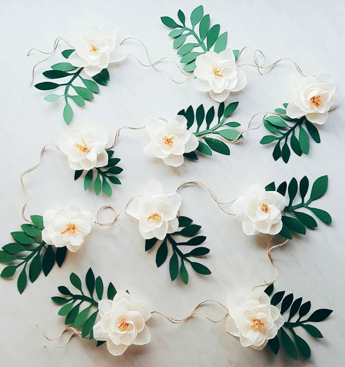 Flower Garland: Paper Flower Garland. Teepee Flowers. Crepe Paper