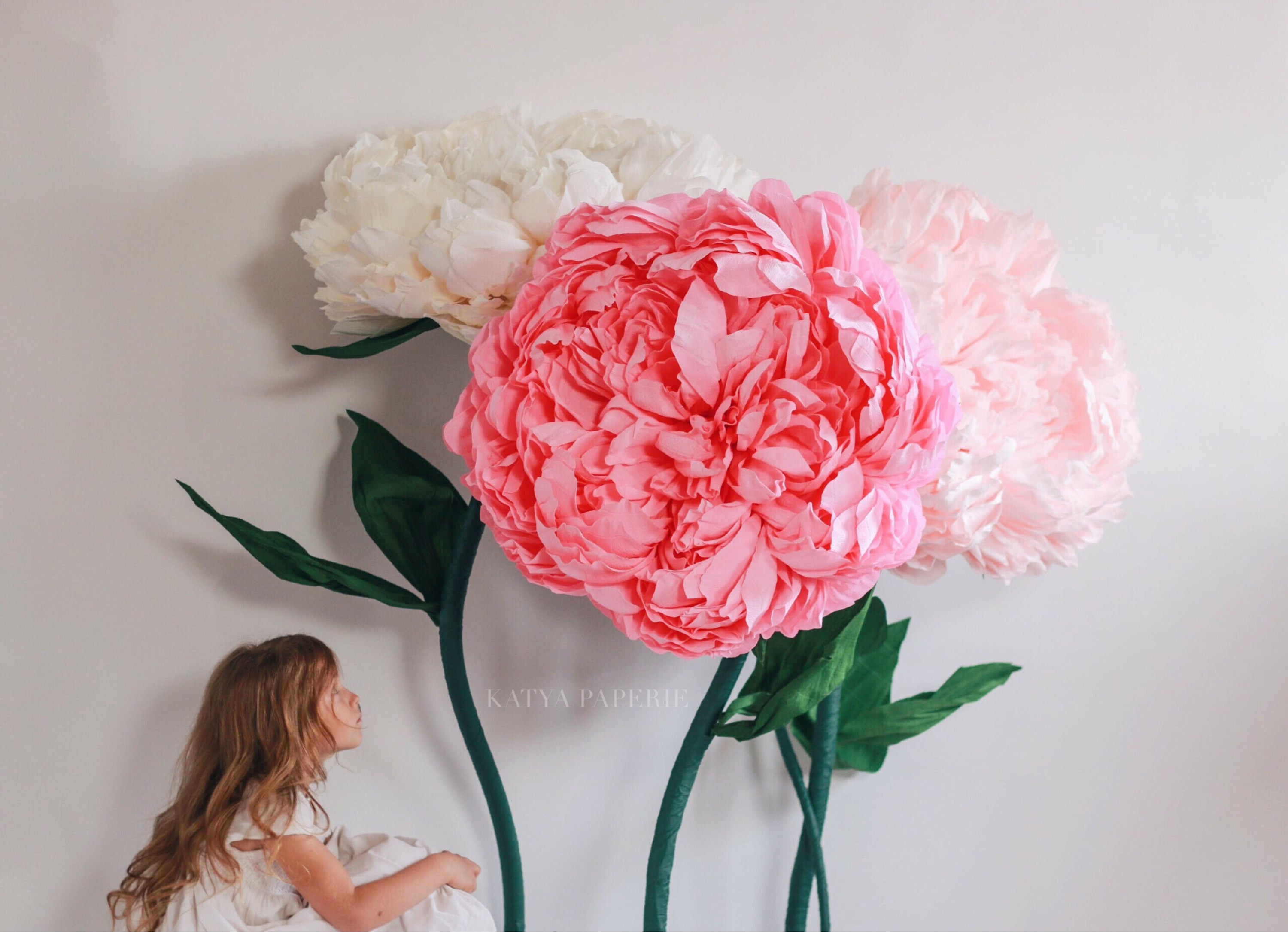 Giant self standing luxurious peonies set of 3. Alice in   Etsy