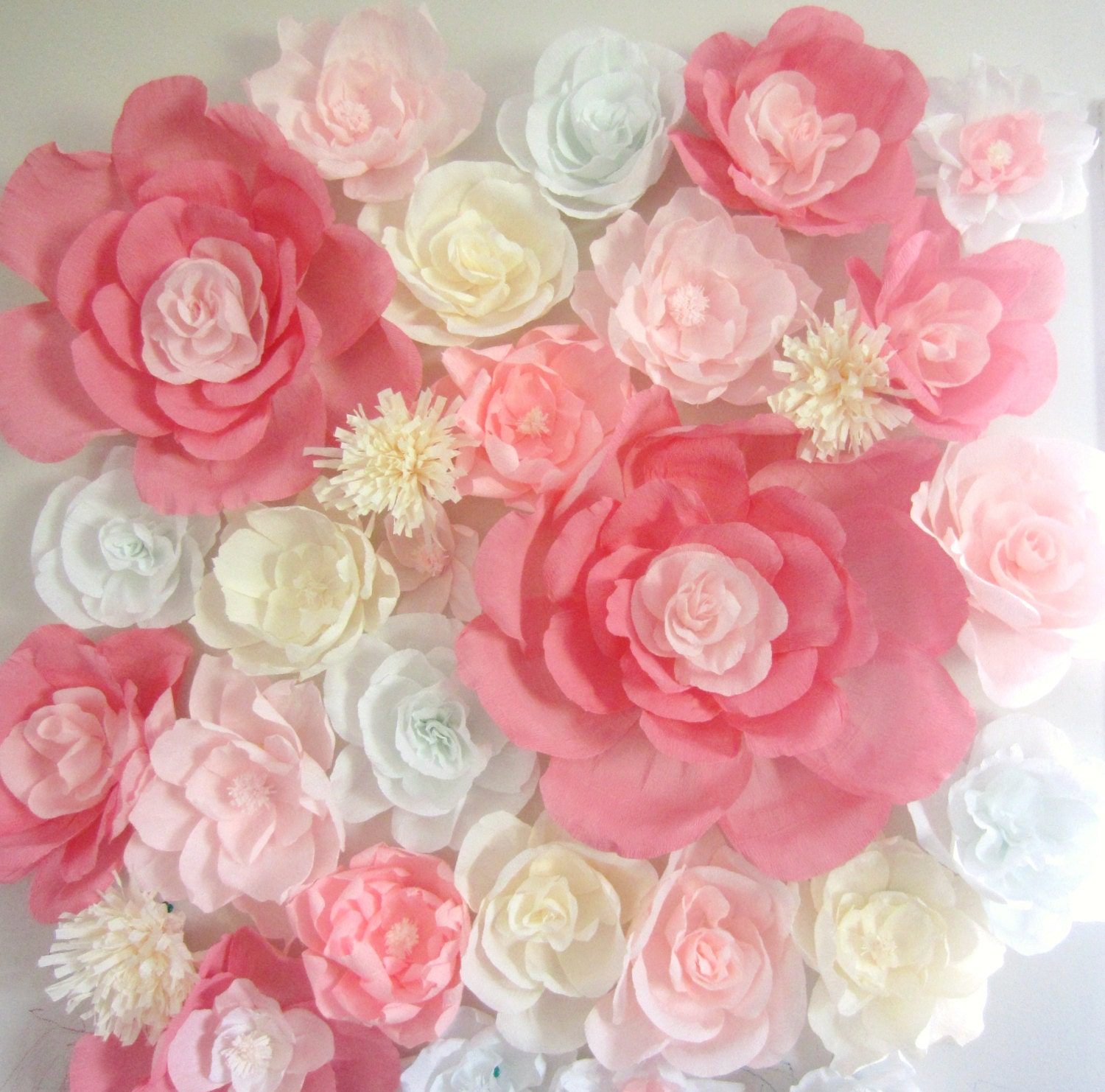 Giant Paper Flowers Wedding: Giant Paper Flower Wall Display 4ft X 4ft. Wedding