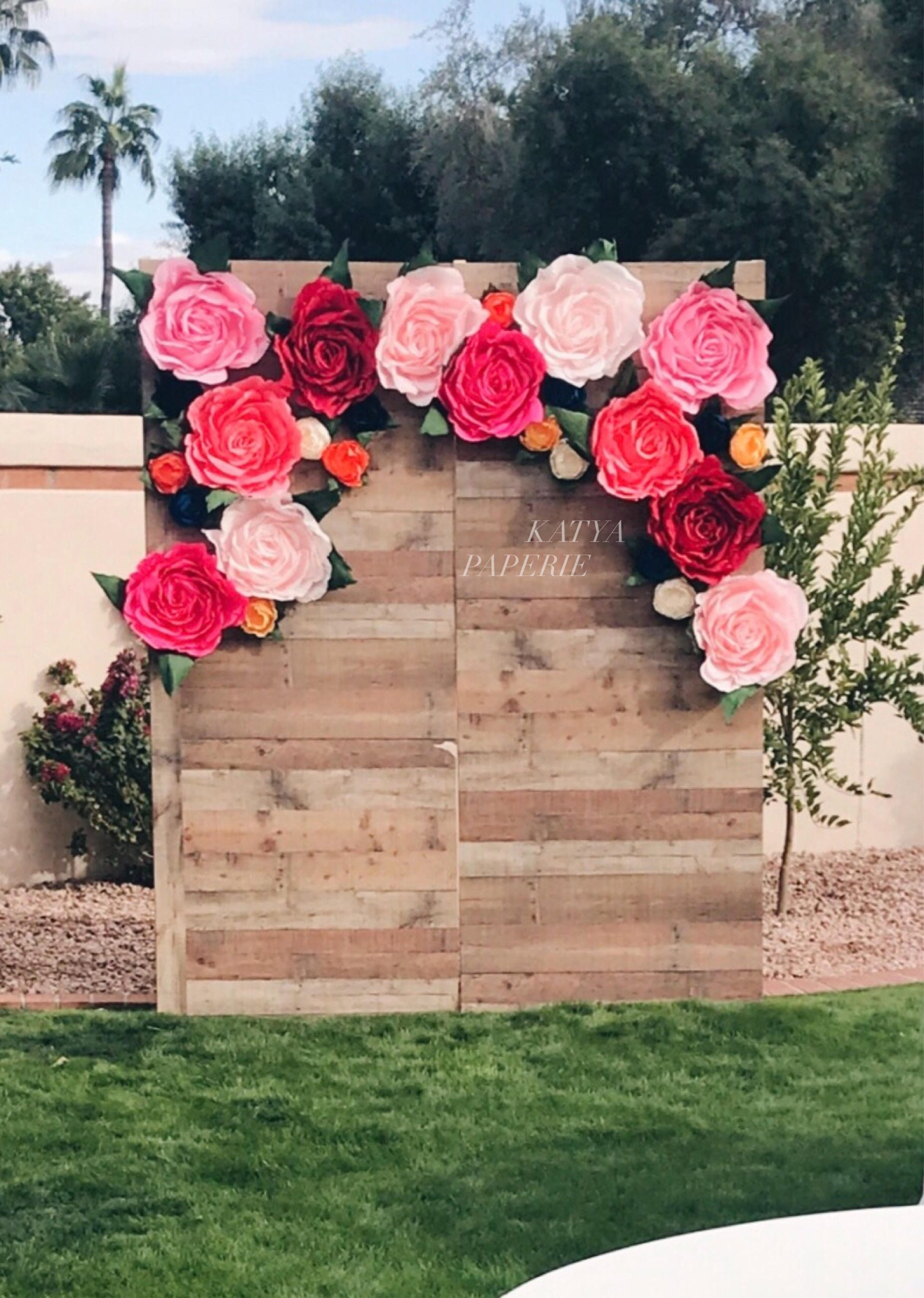 Giant Paper Flower Wall Display Garden Party Decor Alice In Etsy