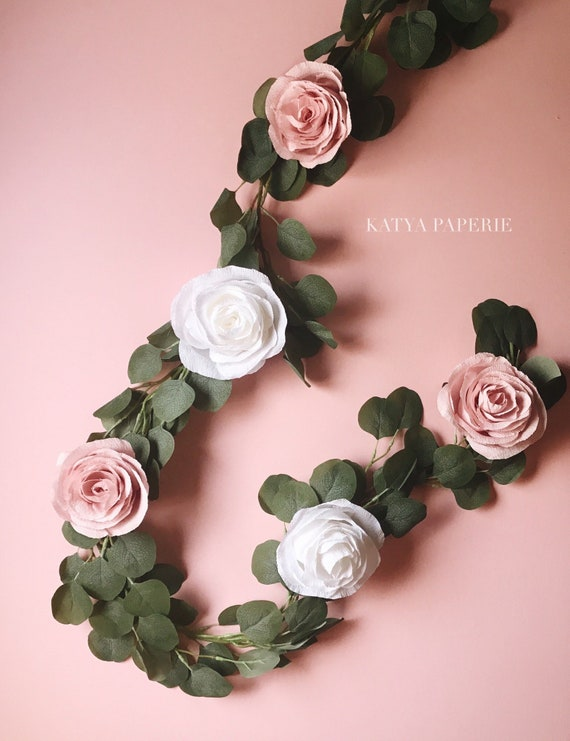 Paper Flower Garland Teepee Flowers Crepe Paper Roses With Faux Eucalyptus Girl Nursery Room Decor Boho Wedding Backdrop