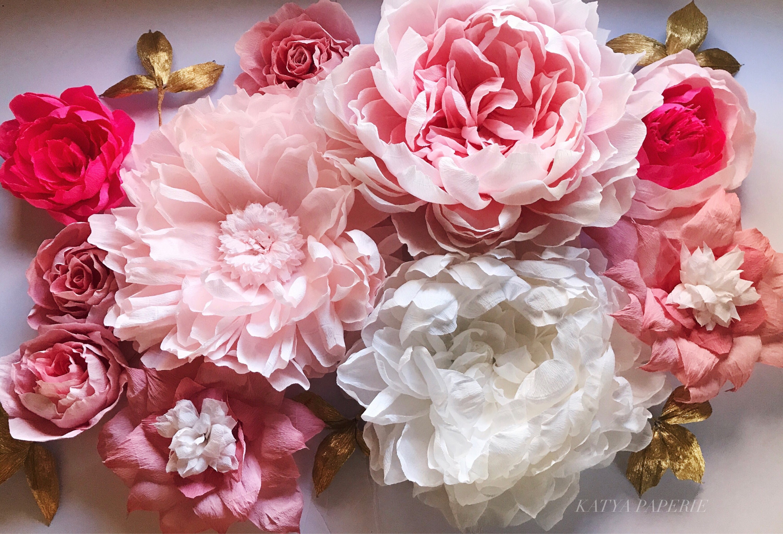 Deluxe Paper Flower Set Nursery Wall Paper Flowers Wedding Etsy