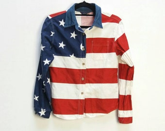 b582344178 American Flag Blouse Vintage Americana Shirt Women s Button Up American  Flat Pattern Blouse Vintage Stars and Stripes Top 4th July Fourth