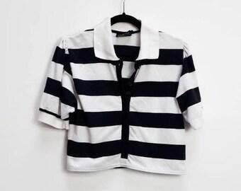 2cf63b4d Stripe Crop Top Vintage Striped Crop T-Shirt Women's Black Stripe Button  Down Crop Tee Ladies Collared Stripe Vintage Button Up Crop Top M