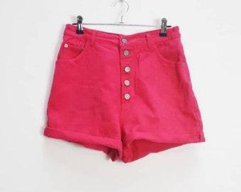 d5547ce5f94b Pink Denim Shorts Vintage High Waisted Denim Shorts Women's Pink Shorts  Denim Vintage Shorts High Waist Bright Pink Denim Vintage Shorts